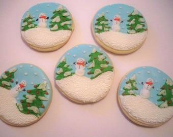 Snowman Winter Scene Sugar Cookies