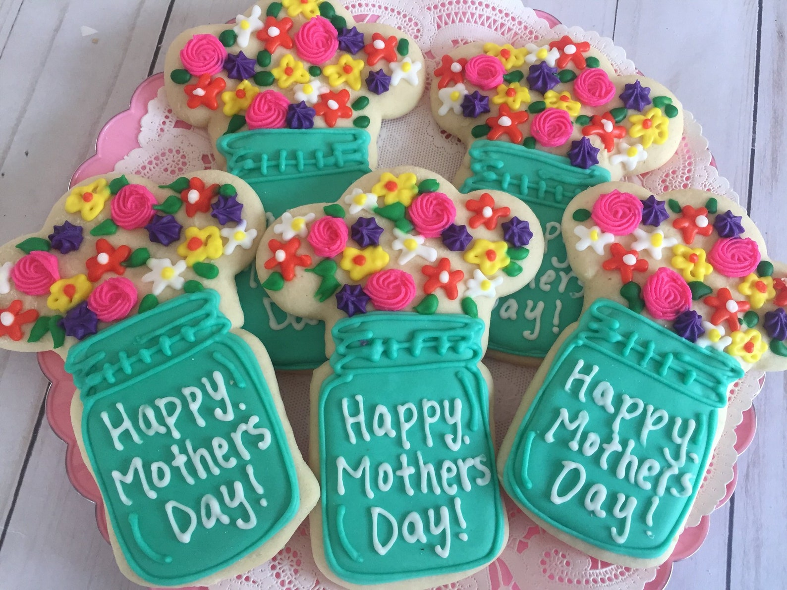 Happy Mothers Day Floral Mason Jar Cookies