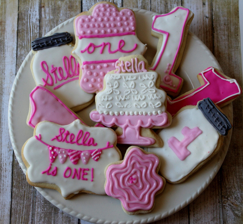 Pink Birthday Sugar Cookies Vintage Birthday 1st Birthday