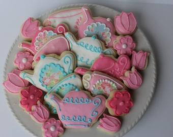 Tea Party Sugar Cookies, bridal shower, cookie favors, tea party favors, tea party birthday, tea party baby shower, tea party favors