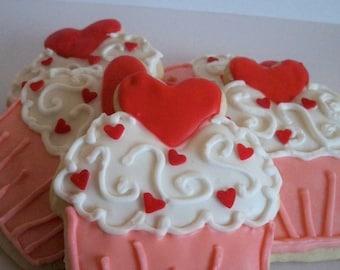 Valentine's Cupcake Cookies