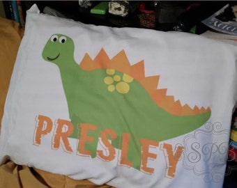 Dino Pillow Custom Printed Pillow Cases with Name and personalized Dinosaur Print