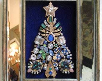 jeweled framed jewelry art christmas tree vintage deco royal blue green gold fabulous - Royal Blue And Gold Christmas Decorations