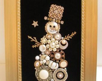 Jeweled Framed Jewelry Art Snowman Black Gold Vintage Pearls Rhinestones Fabulous