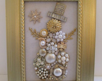 Jeweled Framed Jewelry Art Snowman White Gold Vintage Pearls Detailed Rhinestones Fabulous