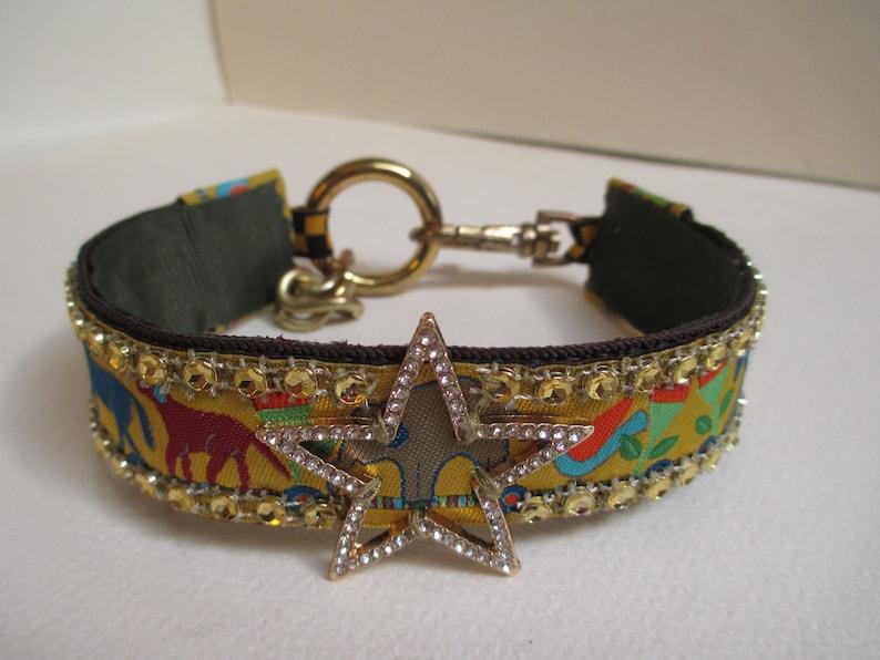 11 14 to 12 12 Inch Pet Dog Collar Necklace Jewelry Gold Star Animal Print Gold Rhinestone Trim