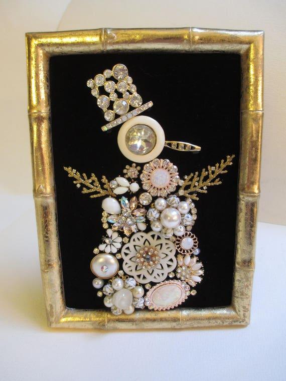 Jeweled Framed Jewelry Art Snowman Black Gold Vintage