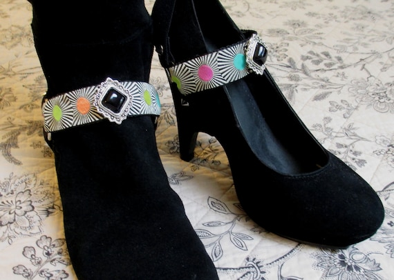 Bootstraps Boot Straps Shoe Jewelry Black Silver Deco Elastic Interchangeable
