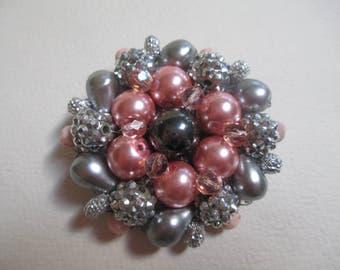 Statement Brooch Handmade Pale Pink Gray Silver Fabulous