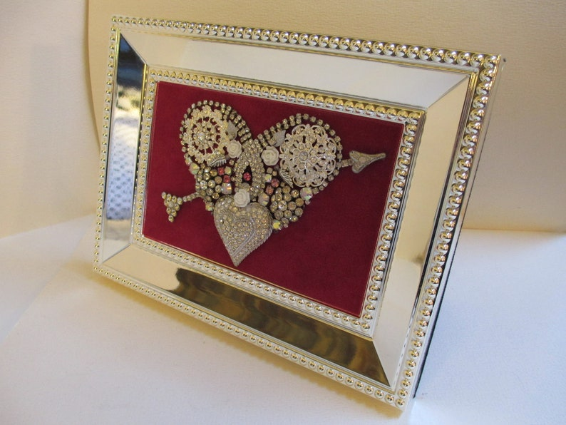 Jeweled Framed Jewelry Heart Valentine Fuchsia Pink Silver Vintage Rhinestone Gorgeous