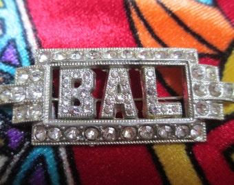 Vintage Deco Rhinestone Initial Brooch B A L