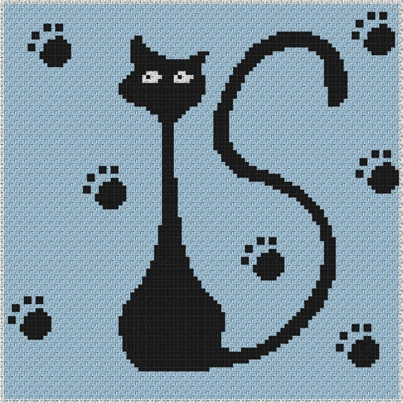 Cat Resting (Graph AND Row-by-Row Written Crochet Instructions ... | 570x570