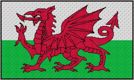 Wales/Welsh Flagge Decke werfen C2C Graphghan | Etsy
