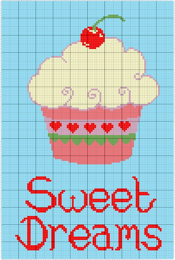 Süße Träume Cupcake C2c Häkeln Mustertabellediagramm Plus Etsy