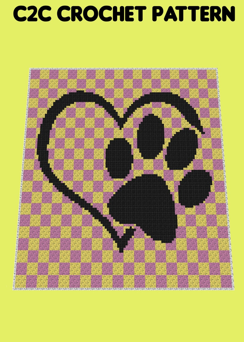 Love Paw - Cat/Dog Lover C2C Crochet Pattern/Chart/Graph PLUS FREE Written  Patterns