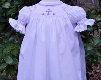 e5c3f0ea9 Smocked Dress and Smocked Bonnet. Bishop Dress. Portrait Dress.  Christening. Baptism. Blessing. Ceremony. Dress. Lace Socks.