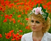 SALE Floral headband or garland Large Pink Rose & Ivory scabiosa spray.