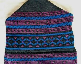 Vtg Maureen of the Mews Knit Ski Hat Cap Black Magenta Blue Wool Adult  One-Size 3ea990b1b3f0