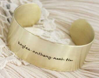 Name Bracelet · Cuff Bracelet · Brass Cuff Bracelet · Custom Name Bracelet · Personalized Jewelry · Gift for Mom · Gift for Her