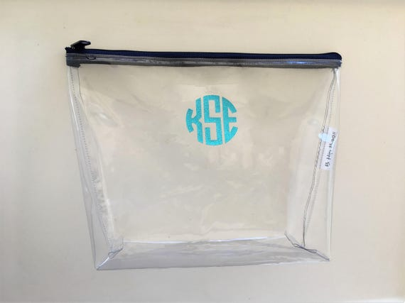 Large Clear Vinyl Monogram Metallic Lilly Pulitzer Travel Zipper Cosmetic  Make Up Wet Bag/Accessory/Baby/ Supplies/Bridesmaid/Beach Pool