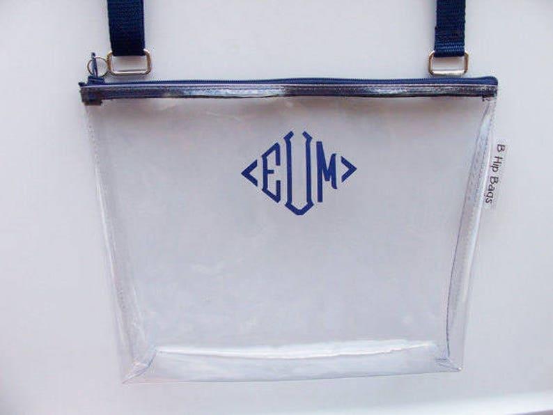 Clear Crossbody Bag**Quick Ship**Clear Stadium Game Day Bag Monogram Security Zipper PurseShoulderCrossbody BagPurseGift Idea
