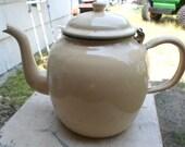 Vintage 1950s German Made Hinged Top Beige Light Green Trim Enamel Large Fat Round Teapot Retro Kitchen Germany Metal