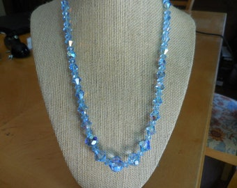 3e1f8255914 Vintage 1950s to 1960s Light Blue Faceted Glass Iridescent Necklace  Adjustable Necklace Bicone Round Beaded Retro Costume Jewelry Gold Tone
