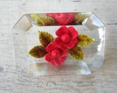 Vintage 1950s Clear Lucite Reversed Carved Red Flowers Rectangle Brooch Pin Clear Small