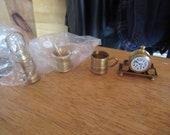 Vintage 1960s to 1970s (1) NOS Brass Miniature Mortar Pestle, Lantern Stein Mantel Clock Made in Holland Metal Small Dollhouse Mini