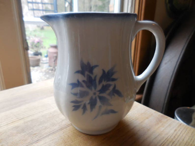 buy popular 4f38d 38ef2 Vintage 1950s White Pitcher With Blue Aster Pattern Arabia   Etsy