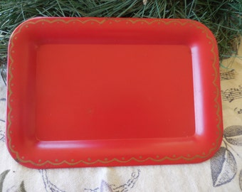 Vintage Mini Tray Snack Red With Gold Trim 1960s Miniature Tray Tiny Little Metal Nash Company
