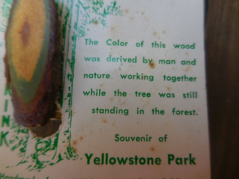 Vintage 1960s to 1970s Woods of Color by Frink Souvenir of Yellowstone Park Handmade from Wyoming Gemwood Man/'s Tie Clip GreenBrown Wooden