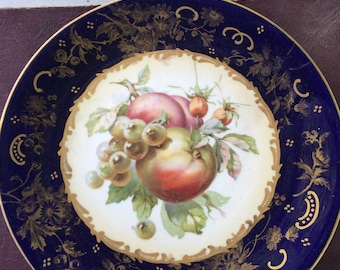 Vintage 1940s or Earlier Decorative Plate With Apple/Grapes Fruit Wall Hanging Royal Blue Gold Trim