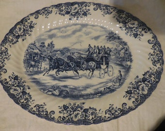 Vintage 1960s to 1990s Coaching Scenes Johnson Bros. Passing Through Made in England Platter/Tray Oval Retro Blue and White Display Dining