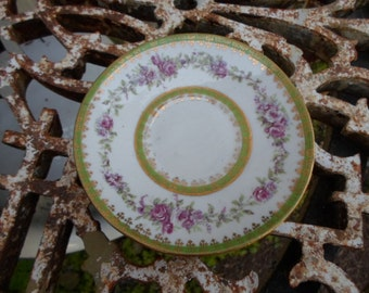 Vintage Small Plate Pink Roses and Green Leaves Demitasse Saucer Victoria Austria Gold Shabby Chic 1930s to 1940s