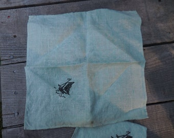 Vintage 1950s to 1970s Linen Light Green Napkin/Doily With Black Cross Stitch Embroidered Sailboat