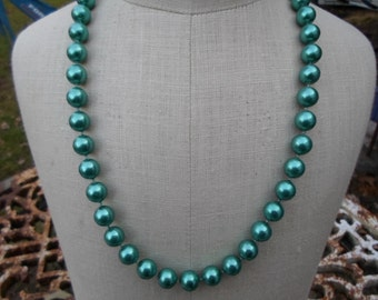 Vintage Green Metallic Plastic Pearly Necklace Large Beads Gold Tone Clasp 1960s to 1970s