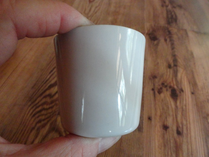 Vintage 1950s to 1970s Lietzke Porcelain Tiny CupDishCup Mid Century White OutsideBlue Inside Signed Bottom Reuse Tapered
