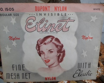 Vintage 1940s to 1950s No.1505  Invisible Elinet White Fine Mesh Net Dupont Nylon With Elastic Advertising Lunch Lady Factory Worker Woman