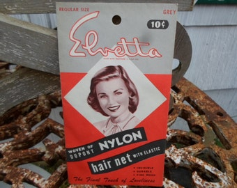 Vintage 1950s to 1960s Elvetta Woven of Dupont Nylon Hair Net With Elastic Grey Color Regular Size Lunch Lady Factory Worker
