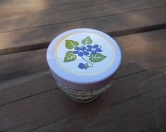 Vintage 1970s Small Glass Cream Sachet AVON Violet Scent Metal Screw Cap Bathroom Decor Purple and White