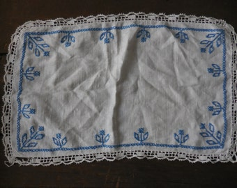 Vintage Linen White Doily With Embroidered Blue Flowers Design and Crocheted Edges Handmade 1950s to 1960s Furniture Protector