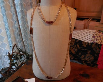 Vintage 1960s to 1970s Gold Tone Sarah Coventry Double Chain Necklace/Double Necklace Short/Long/Extra Long Retro Faux Tortoise Beads