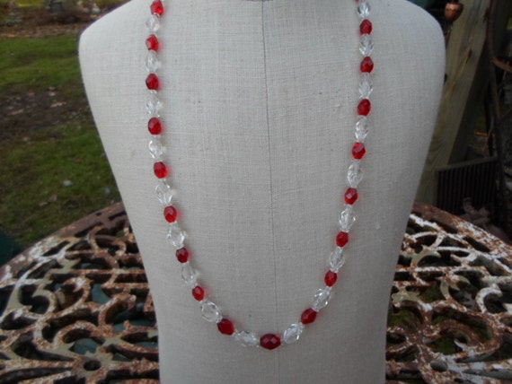 Vintage 1950s to 1960s Bright Red Glass Beaded Cle