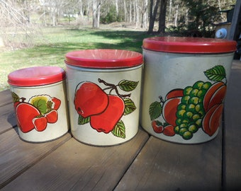 Vintage 1940s to 1950s Ballonoff Set (3) Kitchen Canisters Nesting Metal Round Decor Retro Fruit Motif Red/White Apples/Grapes/Peaches