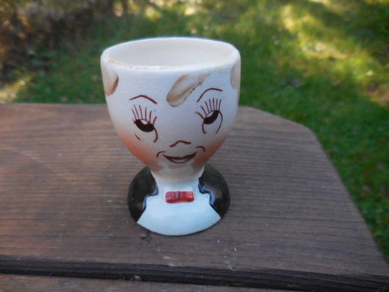 Vintage 1950s to 1960s Egg CoddlerHolder Mans Face with Bow Tie Butler Like Made in Japan Ceramic Kitschy Kitchen Retro