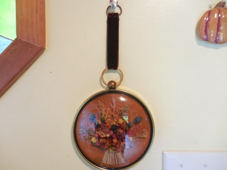 4 Vintage Domed Glass Framed Dried Flowers On Black Velvet Round Brass Tone Decorative Arts