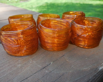 Vintage 1960s to 1970s Retro Orange Spaghetti Plastic Napkin Rings Sets of 6 Bright Thick Dining Table Decor Mid Century