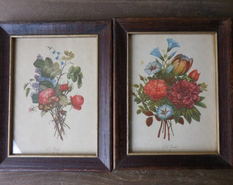 Vintage Shabby Chic T. L. Prevost 1940s to 1950s Floral Pictures Prints in Wood Oak Frames Set of 2 Colorful Flowers