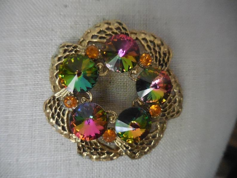 Vintage 1950s to 1960s Iridescent Round Rivoli Beads PinBrooch Gold Tone Colorful Carnival Glass Look Beaded Round Orange Rhinestones